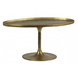 Oval Top Brass Finish Metal Mid Century Coffee Table