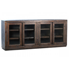 Dark Stained Reclaimed Pine Wood and Glass Sideboard