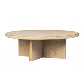Reclaimed Solid Pine White Wash Wood Round Coffee Table