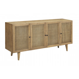 Natural Color Wood & Natural Rattan Doors Sideboard Cabinet