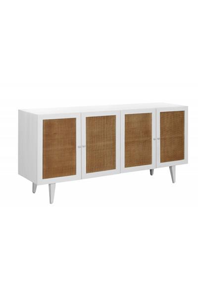 White Wood & Natural Rattan Doors Sideboard Cabinet