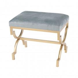 Dusty Light Blue Velvet Gold Leg Footstool Ottoman Bench