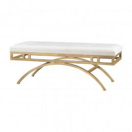 Cream Velvet Gold Arch Leg Ottoman Bench