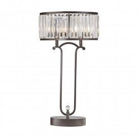 Rustic Glam Bronze & Beveled Glass Table Lamp
