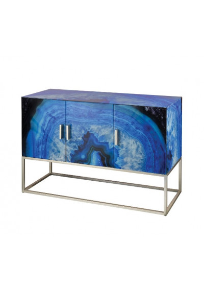 Blue Glass Painted Agate Design Sideboard Cabinet