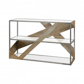 Aged Silver Straps & Glass Console Table