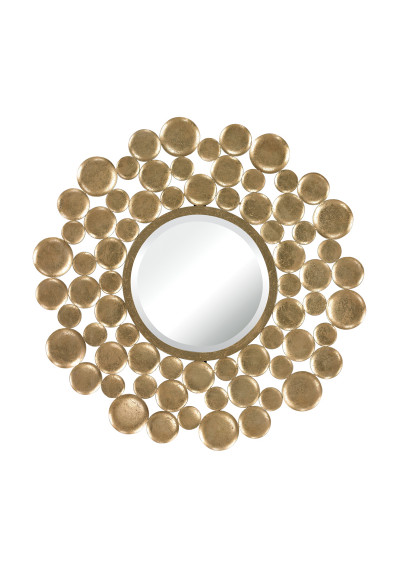 Gold Metal Bubble Round Beveled Wall Mirror