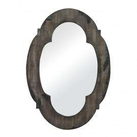 Weathered Dark Wood Quatrefoil Wall Mirror