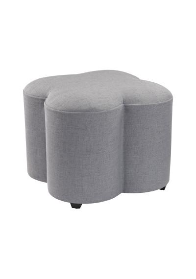 Grey Linen Quatrefoil Ottoman Footstool