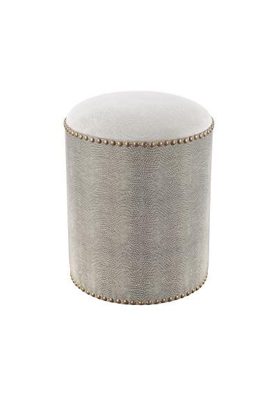 Round Grey Faux Shagreen Studded Ottoman Footstool
