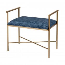 Blue Chenille Seat Gold Leg Footstool Ottoman Bench