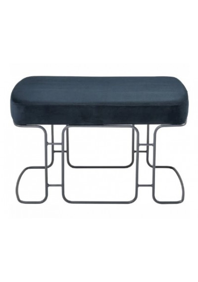 Navy Blue Chenille Seat Silver Geometric Bench