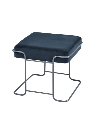 Navy Blue Chenille Seat Silver Geometric Footstool Bench