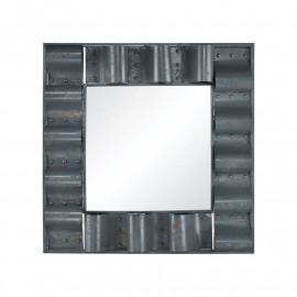 Rustic Metal Tin Roof Square Wall Mirror