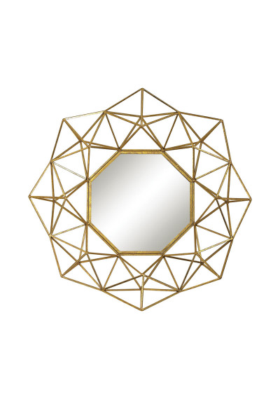 Gold Geometric Frame Octagon Wall Mirror