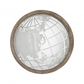 Wood Frame Map of the World Etched Wall Mirror