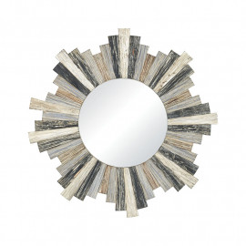 Grey Wash Weathered Round Star Wall Mirror