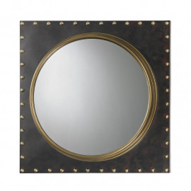 Dark Metal Square Gold Rivet Wall Mirror