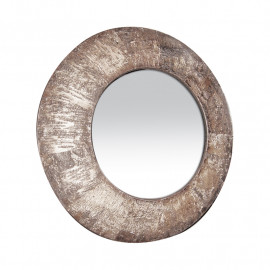 Natural Birch Bark Finish Round  Wall Mirror