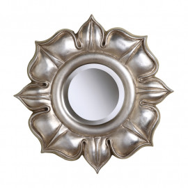 Shiny Silver Flower Wall Mirror