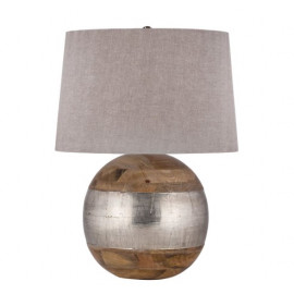 Mango Wood Round Ball & Silver Rustic Band Table Lamp