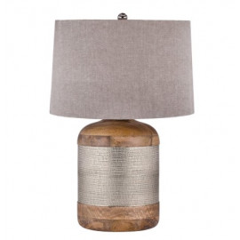 Mango Wood Drum & Silver Rustic Band Table Lamp