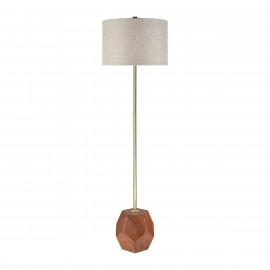 Geometric Mahogany Cube Mid Century Style Floor Lamp