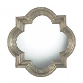 Silver Quatrefoil Thick Frame Wall Mirror