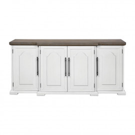 Off White 4 Door Dark Wood Top Farmhouse Sideboard Cabinet