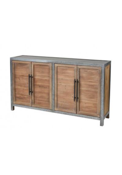 Oak Finish Shutter Doors Galvanized Metal Boday Sideboard Cabinet