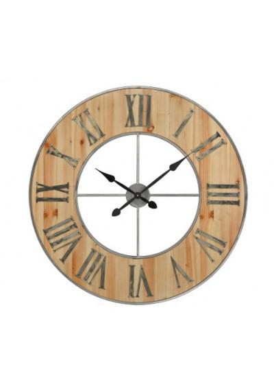 Weathered Raw Steel & Worn Wood Industrial Wall Clock