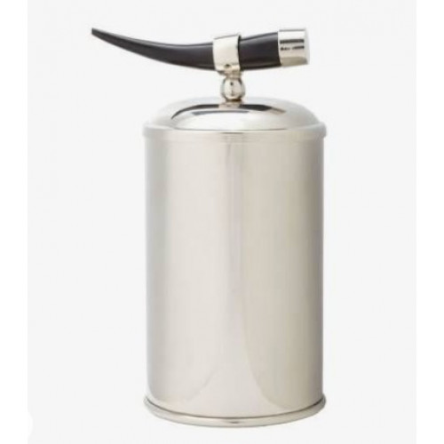 Small Silver Ice Bucket with Natural Horn Accent