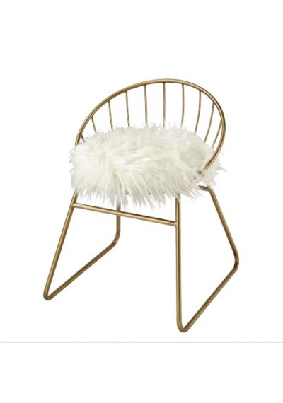 Gold Frame White Fluffy Faux Fur Seat Accent Chair