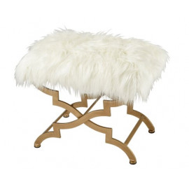 Gold X Frame White Fluffy Faux Fur Bench Footstool Ottoman