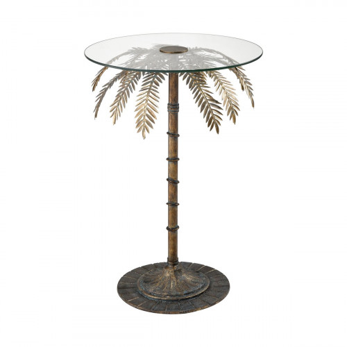 Metal Palm Tree Glass Top Accent Side Table