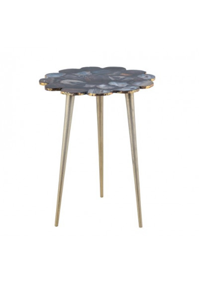 Black Agate Scalloped Edges Silver Tripod Base Accent Side Table