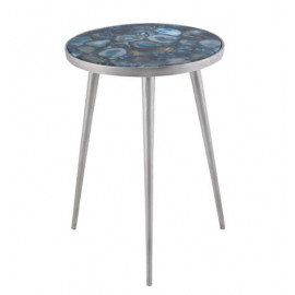 Blue Agate Silver Tripod Base Accent Side Table