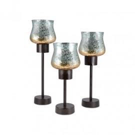 Mercury Glass Rustic Candle Holders Set of 3