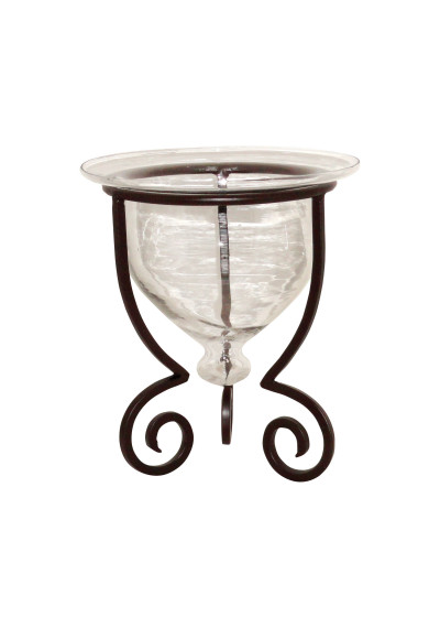 Tuscan Rustic Iron & Glass Vase Bowl Candle Holder Set of 2
