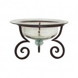 Tuscan Rustic Iron & Glass Bowl Candle Holder Set of 2