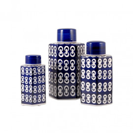 Navy Blue Ceramic Jars with Lids