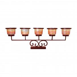 Rustic Iron & Glass Mantel Candelabra