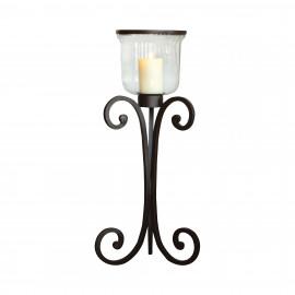 Rustic Iron & Glass Short Floor Lantern Candle Holder