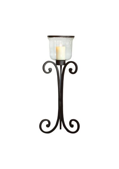 Rustic Iron & Glass Floor Lantern Candle Holder