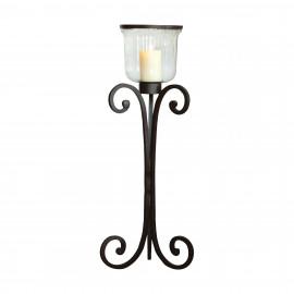 Rustic Iron & Glass Tall Floor Lantern Candle Holder