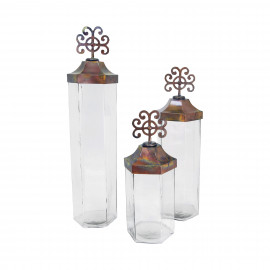 Tuscan Rustic Iron & Glass Canisters