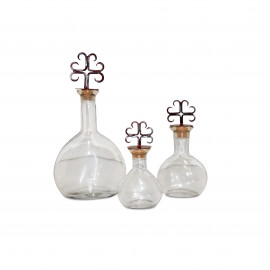 Tuscan Rustic Iron & Glass Canisters Decanters