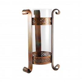 Tall Burned Copper & Glass Hurricane Candle Holder