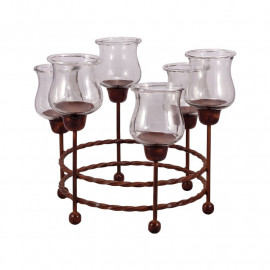Rustic Twisted Iron & Glass Centerpiece Candle Holder