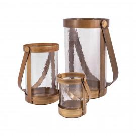 Brass & Glass Pillar Holder Lanterns